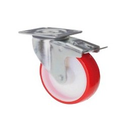 Nylon and polyurethane wheel with rotating plate support and galvanized brake