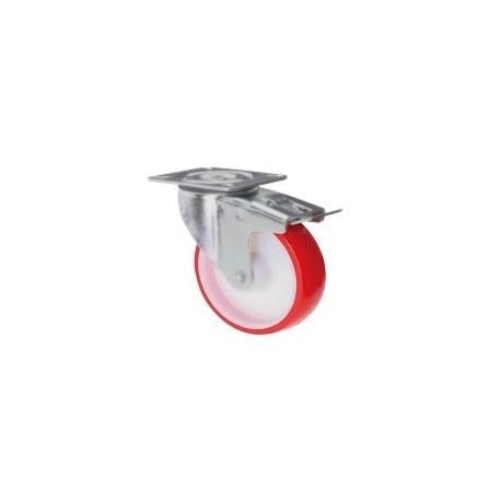 Ruota in nylon e poliuretano con supporto piastra rotante e freno zincato