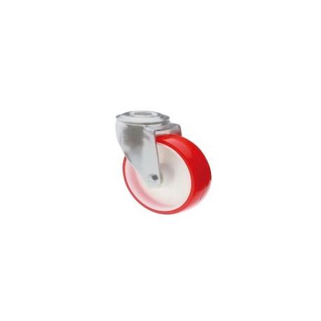 Ruota in nylon e poliuretano con supporto foro vite rotante zincato