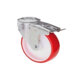 Nylon and polyurethane wheel with rotating screw hole support and galvanized brake