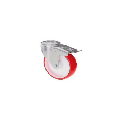 Ruota in nylon e poliuretano con supporto foro vite rotante e freno zincato