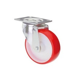 Nylon and polyurethane wheel with stainless steel rotating plate support