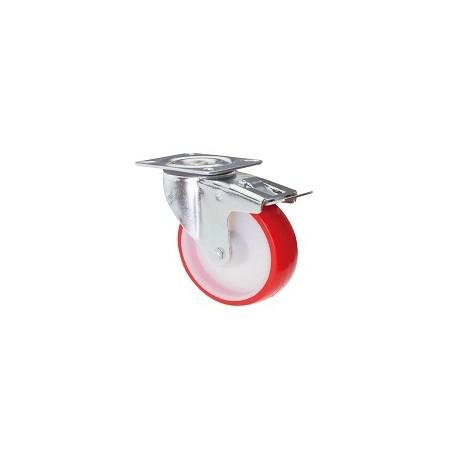 Ruota in nylon e poliuretano con supporto piastra rotante e freno inox