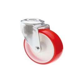 Nylon and polyurethane wheel with stainless steel rotating screw hole support