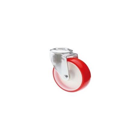 Ruota in nylon e poliuretano con supporto foro vite rotante inox