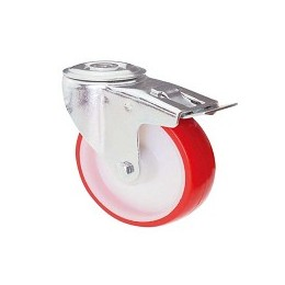 Nylon and polyurethane wheel with rotating screw hole support and stainless steel brake