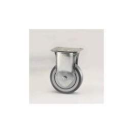 Ruota per arredamento in gomma grigia con supporto piastra fisso zincato