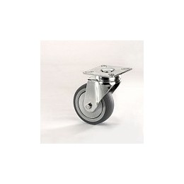 Gray rubber furniture wheel with galvanized rotating plate support