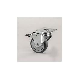 Ruota per arredamento in gomma grigia con supporto piastra rotante e freno zincato