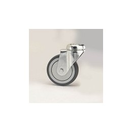 Gray rubber furniture wheel with galvanized rotating screw hole support