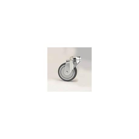 Ruota per arredamento in gomma grigia con supporto foro vite rotante zincato