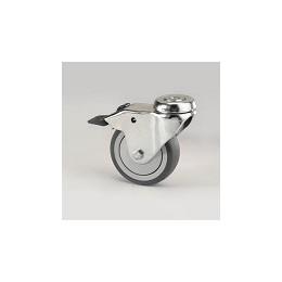Ruota per arredamento in gomma grigia con supporto foro vite rotante e freno zincato