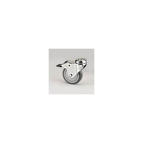Ruota per arredamento in gomma grigia con supporto foro vite rotante e freno inox