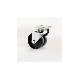 Ruota per arredamento gemellata in nylon nero con supporto piastra rotante zincato