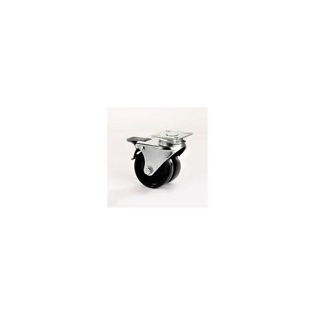 Ruota per arredamento gemellata in nylon nero con supporto piastra rotante e freno zincato