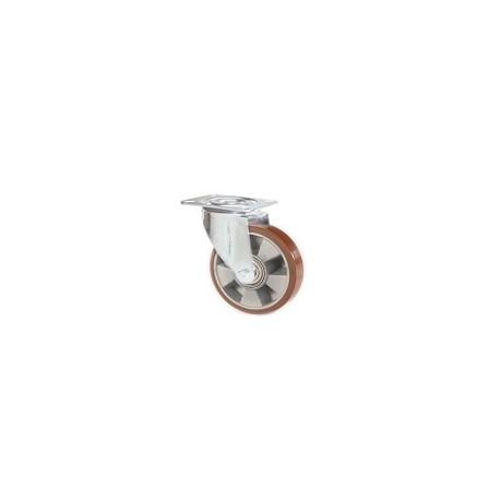 Ruota in alluminio e poliuretano con supporto piastra rotante zincato