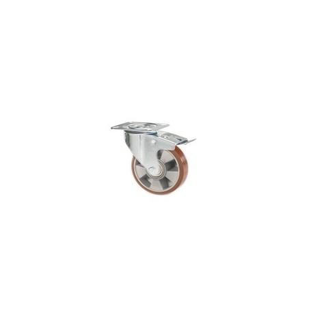 Ruota in alluminio e poliuretano con supporto piastra rotante e freno zincato