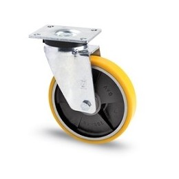 Cast iron and polyurethane wheel with galvanized rotating plate support