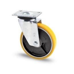 Ruota in ghisa e poliuretano con supporto piastra rotante zincato