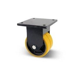 Cast iron and twin polyurethane wheel with fixed extra heavy plate support