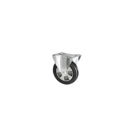Ruota in gomma elastica con supporto piastra fisso zincato