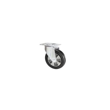 Ruota in gomma elastica con supporto piastra rotante zincato