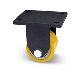 Roller for pallet truck in steel and polyurethane with extra heavy plate support fixed