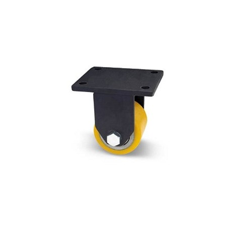 Rullo per transpallet in acciaio e poliuretano con supporto piastra extra pesante fisso