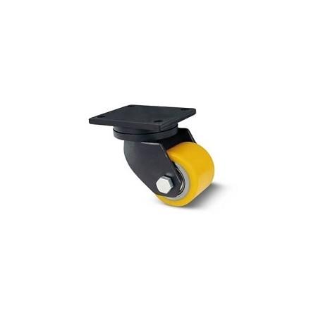 Rullo per transpallet in acciaio e poliuretano con supporto piastra extra pesante rotante