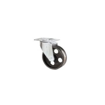 Ruota in ghisa meccanica con supporto piastra rotante zincato