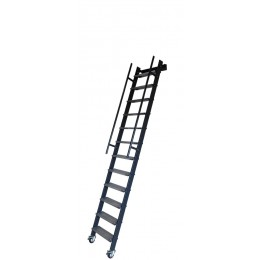 Mezzanine ladder in iron with galvanized iron steps and wheels Mod. SSPFXL